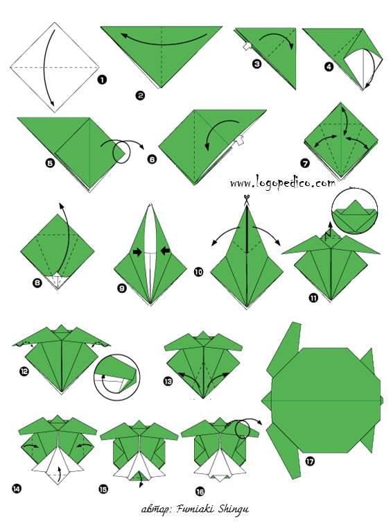 фигури оригами костенурка