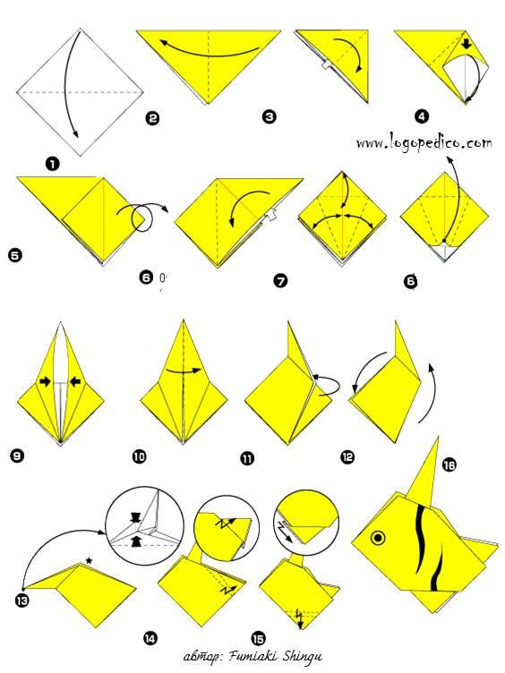 Как сделать из бумаги рыбы