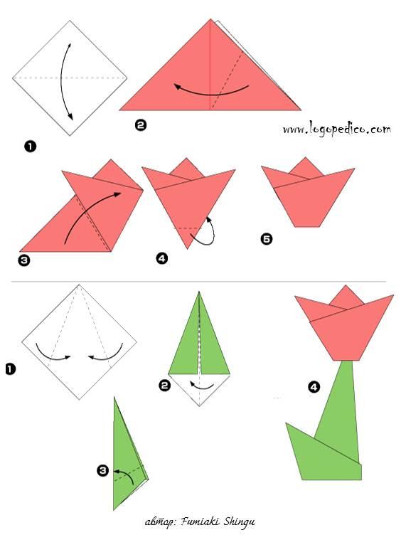 фигура оригами роза