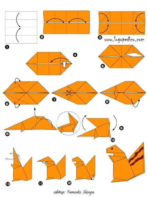 Животные из оригами из бумаги и их