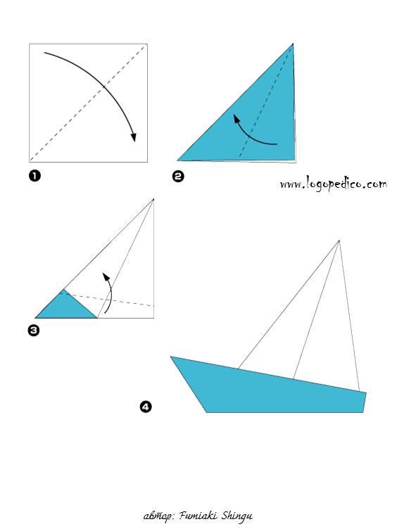 фигури оригами лодка