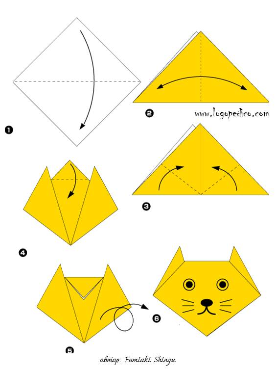 Оригами для начинающих кошка