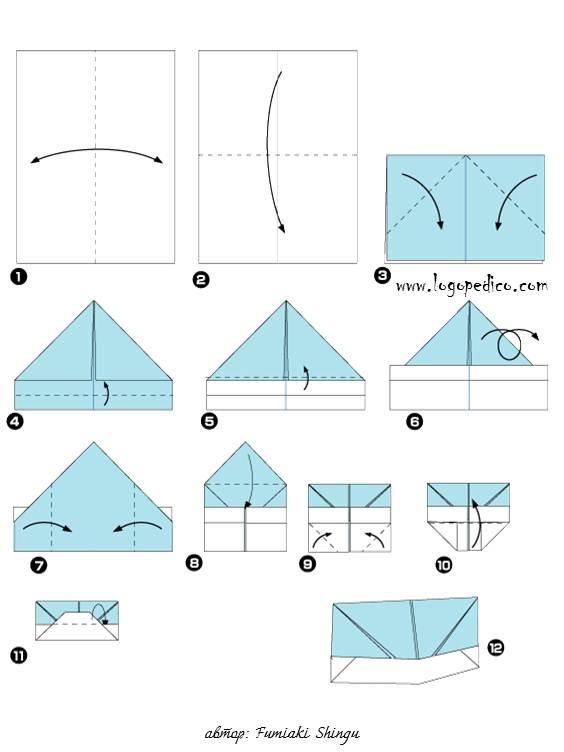 Оригами пилотку из бумаги