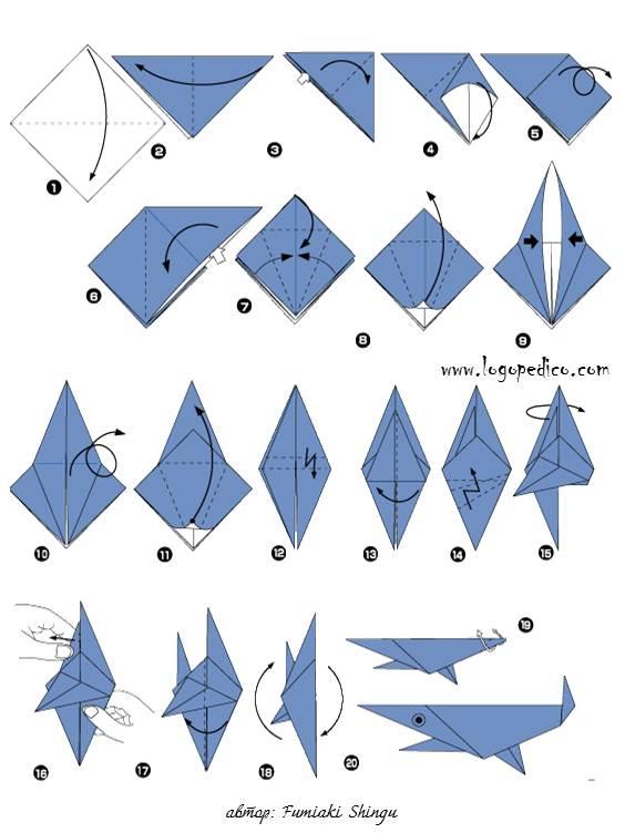 фигури оригами акула